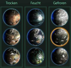 Kolonie Planetentypen
